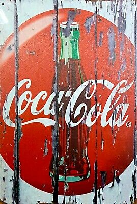 Coca Cola button bottle ice cold new tin metal sign MAN CAVE