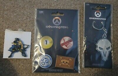 Offical Overwatch Items Hanzo Pin Reaper Keychain And Roadhog Badges