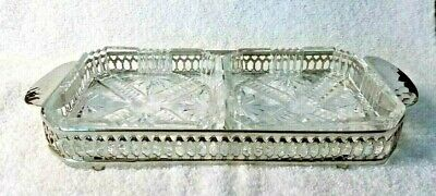 """Vintage Clear Glass Crystal Square"""" Cigarette Cigar Ashtray Silver Plated Legs"""
