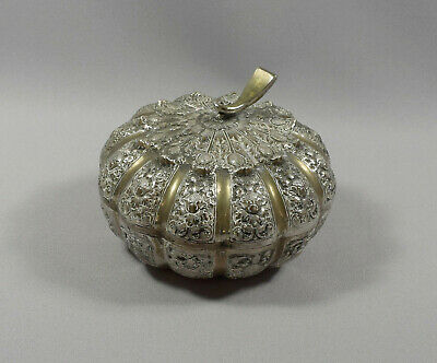 Indo-Chinese Silver Plated White Metal Pumpkin Betal Box - Cambodia