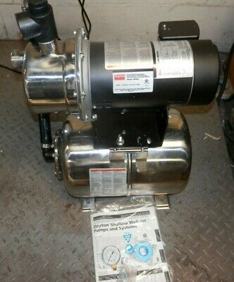 New Dayton 4Hfa3A Shallow Well Jet Pump System 115/230V 1Ph 3450 Rpm 3/4 Hp Ss
