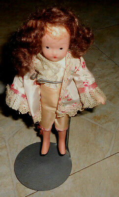 ANTIQUE american hand painted  BISQUE  7 INCH DOLL very old must see