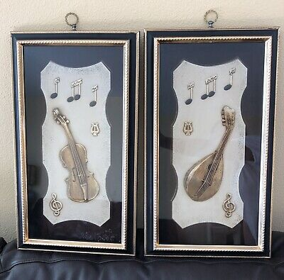Set of 2 Musical Instruments Picture Shadow Boxes Frame Turner Wall Accessory 60