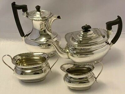 Vintage Tea Set Silver Plated Sheffield Teapot Coffee Pot Sugar Bowl Milk Jug