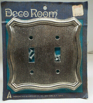 Vintage American Tack & Hardware Double Light Switch Cover - PEWTER -MINT