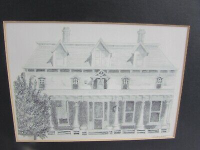 "Vintage Framed Original Pencil Sketch Of Older House Signed ""Guinovere"""
