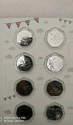 Uncirculated 50p job lot including 2019 Peter Pan full set with Album