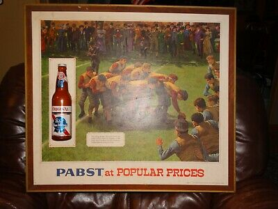 RARE  Vtg Pabst Blue Ribbon Sign Old Time Flavor Football Flying Wedge