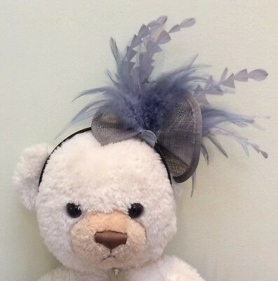 Grey Silver Fascinator On Headband. Lovely. BNWOT. Feathers. Wedding, Races Etc