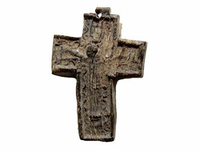 LATE BYZANTINE, EARLY MEDIEVAL 1300 – 1500s. CROSS MADE FROM ANIMAL PRESSED SKIN