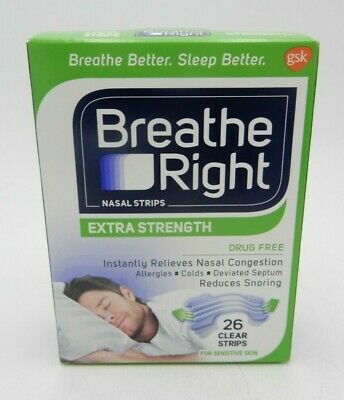 (2Pk) Breathe Right Nasal Strips Extra Clear 26Ct 757145241958Ws