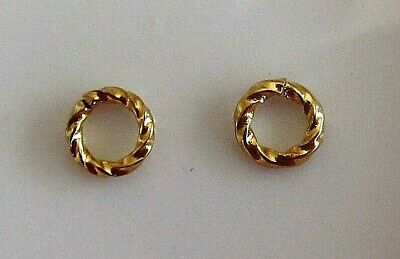 Jump ring, gold-plated brass, 6mm twisted round, 3.6mm inside diameter, 16 gauge