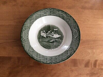 """Royal China Old Curiosity Shop NEW MINT Green Vegetable 9"""" Round Serving Bowl"""