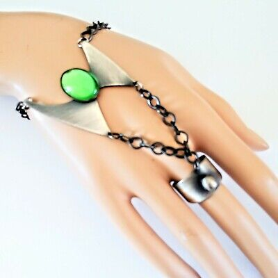 Silver Tone Slave Ring With Green Center Stone Boho Belly Dancer Medieval Goth