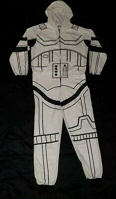 DISNEY STAR WARS Stormtrooper Adult Large One Piece Hooded Pajamas / COSTUME