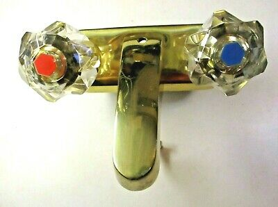"Vintage Laloo Shiny Brass Gold Tone Lavatory Bathroom Sink Faucet 4"" Complete"