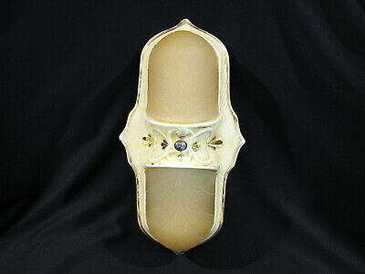 Antique ART DECO YELLOW PORCELAIN KITCHEN-BATHROOM LIGHT FIXTURE - SCONCE