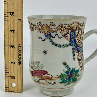 Rare Antique Chinese Export 18th Century Mug With Great Details Qing