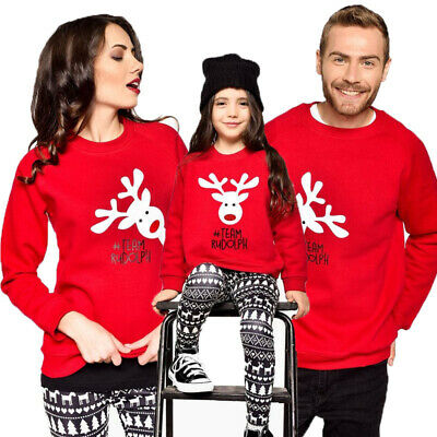 AU Family Matching Women Kid Christmas Deer Jumper Sweater Tops Pullover Blouse