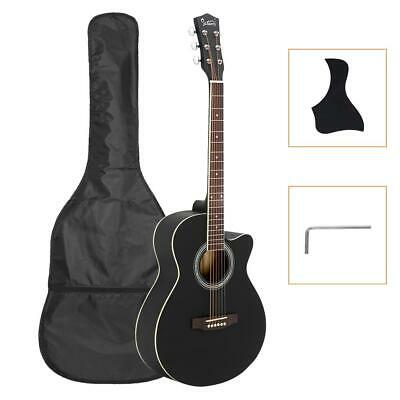 "New Glarry 40"" Acoustic Spruce Front Cutaway Folk Guitar for Students Wood Color"