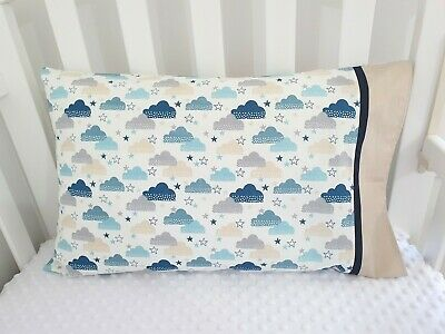 New Cotton Toddler Pillowcase - Neutral clouds + stars