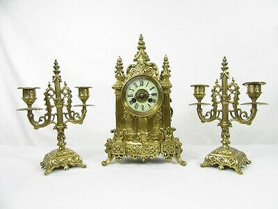 Cathedral French Mantel Clock Garniture set by Vincenti c1855