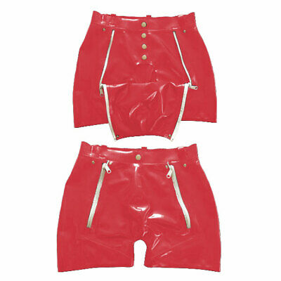 Hot Sale Latex Rot Shorts Rubber Gummi Hosen Double Zipper Pants Fixed Size M