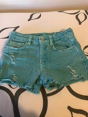 Zara girls shorts size 5 years 110cm blue denim factory distressed FAST DISPATCH