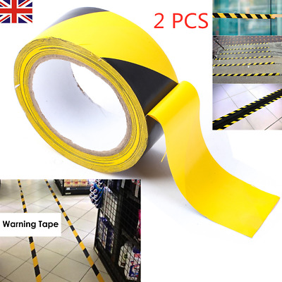 PVC Hazard Warning Tape Self Adhesive Roll Marking Barrier Safety Danger Caution