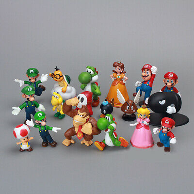 Super Mario Brothers Bros 18 PCS Action Figure Doll Kids Gifts Cake Topper Toys