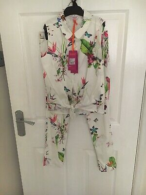 Ted Baker Girls Floral/birds Top/capri Trouser Set 11 Years (10-11 Years)