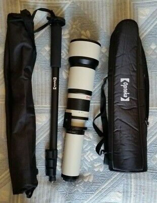 Opteka 650 - 1300mm High Definition Telephoto Zoom Lens + Accessories.