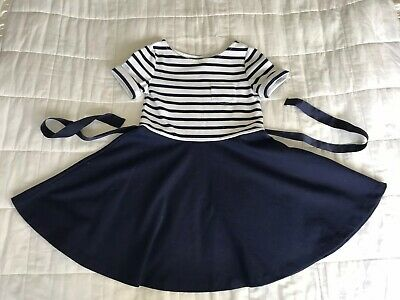 Girls Polo Ralph Lauren Navy Blue Striped Dress Size 7 Years