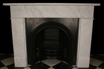 Classic Victorian Plain Fireplace Surround in High Quality White Carrara Marble