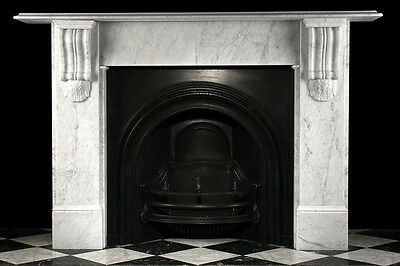 Large Carved Early Victorian Corbel Fireplace Surround in White Carrara Marble