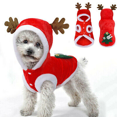 Christmas Puppy Pet Small Dog Clothes Santa Claus Hooded Costume Fleece Jacket