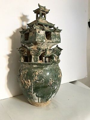 Chinese Han Style Tall Lead Glazed Moulded Pottery Urn