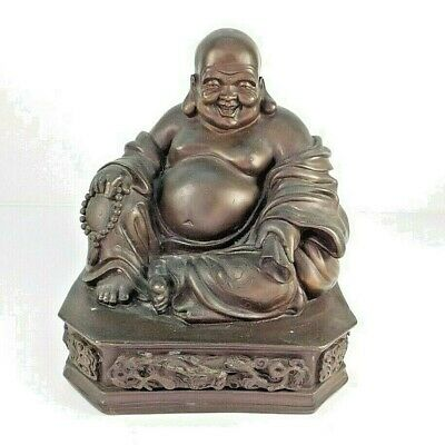 """11"""" Antique Chinese Cast Bronze Seated Laughing Happy Buddha Statue Dragon Base"""