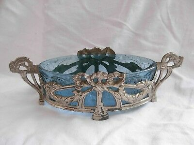 Antique French Art Deco Silvered Pewter,Glass Table Center Piece