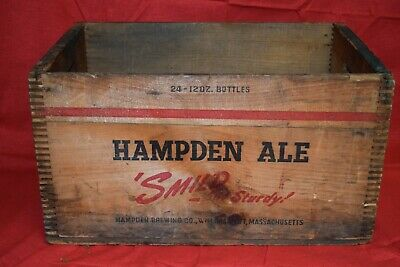 Vintage Wood Advertising Beer Crate  Hampden Brewing  Co. Ale Willimansett Ma