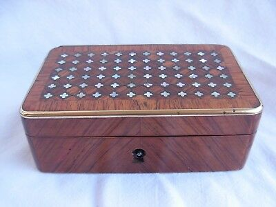 Antique French Wood,Brass Mother Of Pearl Inlaid  Jewel Box,Napoleon Iii Period.