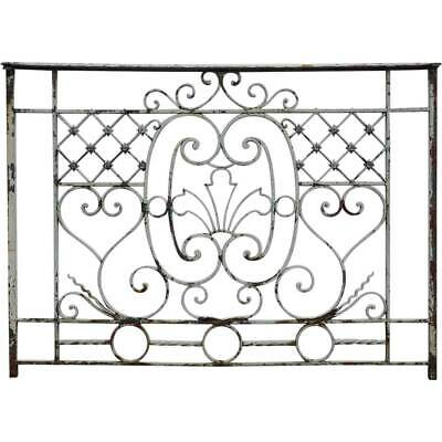 Small Antique French Beaux-Arts Painted Wrought Iron Balcony Railing c. 1890