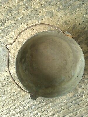 Antique Vintage Old Large Heavy Solid Brass Cooking Saucepan / Pot Cauldron
