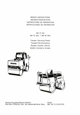 Bomag Repair Instructions Manual Tandem Vibrating Roller BW 75 AD BW 75 ADL