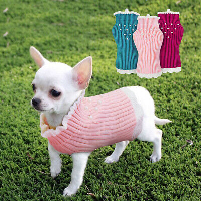 Cute Dog Sweater for Small Dog Cat Winter Clothes Lace Girl/Female Dog Jumper