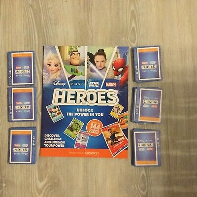 Sainsburys Disney Heroes Album Brand New + 50 sealed packs of cards (200 cards)