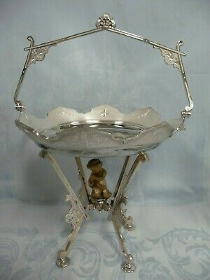 ORNATE VICTORIAN SILVER PLATE FOOTED BASKET w/HANDLE & MONO - ROGERS SMITH & CO.