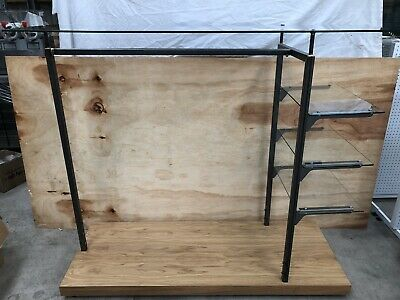 Glass Top Shelves Retail Shop Display Clothing Rail Hanger Gondola Stand