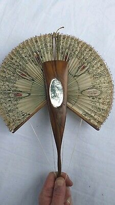 Rare Antique Walnut Hand Held Mirrored Fan Lace Edge Collectable Bird Decoration