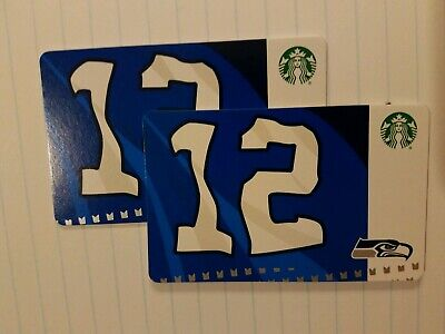Two Starbucks 2019 Seattle Seahawks Gift Cards.  NEW.  PIN intact